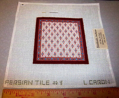 Handpainted Needlepoint canvas, Stitchbirds, PERSIAN TILE #8, partially done