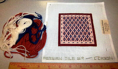 Handpainted Needlepoint canvas, Stitchbirds, PERSIAN TILE #9, partially done
