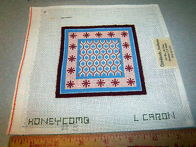 Handpainted Needlepoint canvas, Stitchbirds, HONEYCOMB, L Caron, partially done