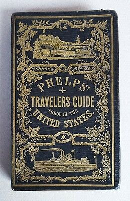 1855 Phelps' Pocket Traveler's Guide To The United States Large Hand-Colored Map