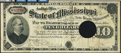 """Jackson, MS.State of Mississippi $10 Special Warrant June 15,1894 Cr. 65 """" VF """""""
