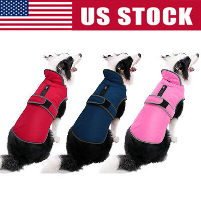 Waterproof Fleece Warm Pet Dog Coat Winter Jacket Clothes Sweater Reflective USA