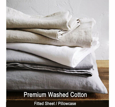 Washed COTTON Fitted Sheet Grey White Bed Sheet - Single Queen King / Pillowcase