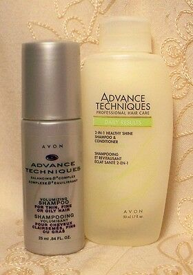 LOT 2 TRAVEL Avon ADVANCED TECHNIQUES VOLUMIZING & 2 in 1 SHAMPOO / CONDITIONER