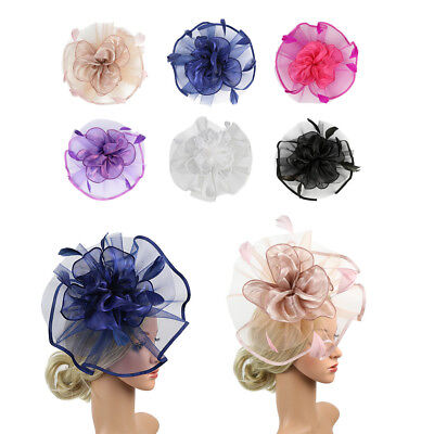 Retro Women Mesh Floral Feather Fascinator Hat Headband Clip Party Accessory