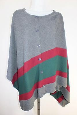 Double Zero Pull Cardigan Poncho Gris Gris Vert Bordeaux Rayures TAILLE M  C29 1feee2ec68af