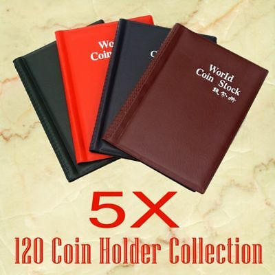 Collection Storage Holders Money Penny Pockets Album Book Collecting 5X 120 Coin