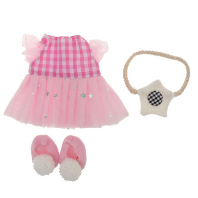 Doll Clothes Plaid Dress Skirt & Star Bag and Shoes for 25cm Mellchan Dolls