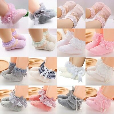 5 Pair Baby Girls Frilly Bow Lace Tutu Short Infant Newborn Toddler Ankle Socks