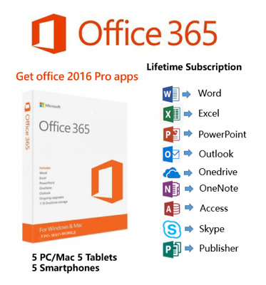 Microsoft Office 2016 Pro Office 365 cuenta para 5 dispositivos 5 TB Onedrive
