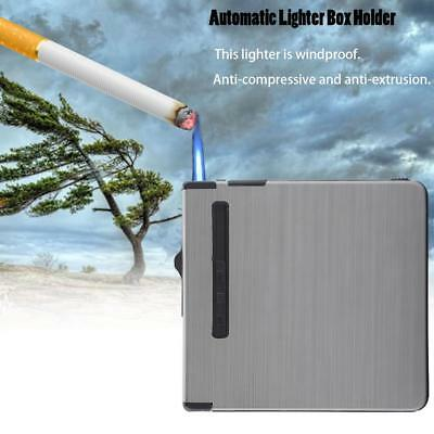 2IN1 Metal Automatic 18 Loaded Case Dispenser Tobacco Storage Box Holder Lighter