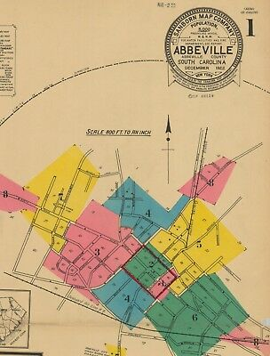 Abbeville, South Carolina~Sanborn Map©sheets 1922~ with 8 maps in color on a CD