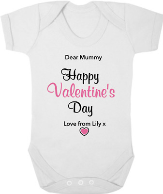 DEAR MUMMY HAPPY VALENTINES DAY New Baby Bodysuit/Grow/Vest, Gift PERSONALISED