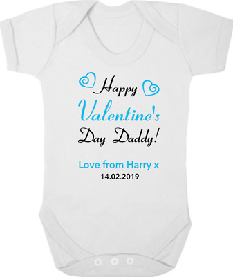 HAPPY VALENTINES DAY DADDY Baby Bodysuit/Grow/Vest, Gift/Present PERSONALISED