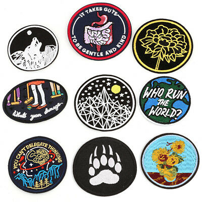 Iron On Sew On Patches Badge Bag Fabric Applique Craft Embroidered Decor DIY Sz