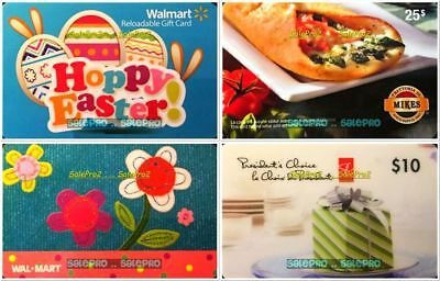 4x WALMART EASTER MIKES SUBMARINES PRESIDENT'S CHOICE COLLECTIBLE GIFT CARD LOT
