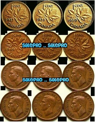 6x CANADA WWII 1937 1938 1939 1940 1941 1942 MAPLE LEAF GEORGE VI PENNY COIN LOT
