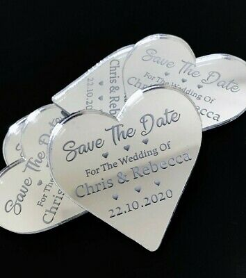 Save The Date Magnet Personalised Wedding Invite Engraved Mirrored Heart Invite
