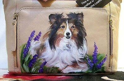Sheltie hand painted genuine leather Great American Leather Works designer bag