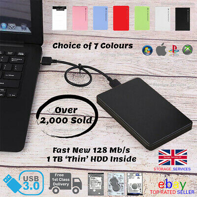 "External 1Tb USB3 Fast Portable 2.5"" Hard Drive HDD for PC/Laptop/Mac/PS4/XBOX"