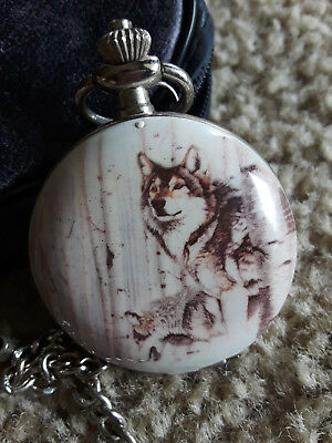 Wolf 'Something In The Air' by Al Agnew Pocket Watch