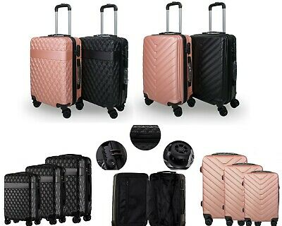 """ABS Hard Shell Cabin Suitcase Case 4 Wheels Luggage Lightweight 20"""" 24"""" 28"""""""