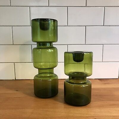Midcentury Green Glass Hooper Candle Sticks Holders, Scandinavian