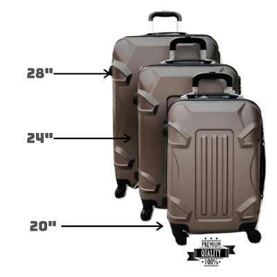 "ABS Hard Shell Cabin Suitcase Case 4 Wheels Luggage Lightweight 20"" 24"" 28"""