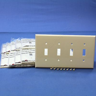 10 Cooper Lt Almond 4G Mid-Size UNBREAKABLE Toggle Switch Wallplate Covers PJ4LA