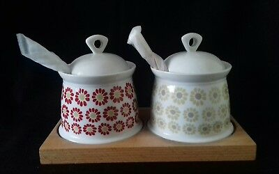 Laura Ashley Jam & Honey Pots With Spoons Unused