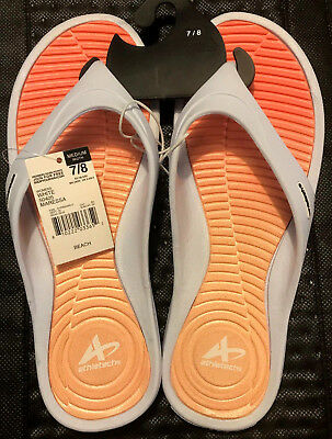 d8bac7685572 ATHLETECH Women s Medium 7 8 White Orange Sandals Flip Flops Beach Shoes NWT