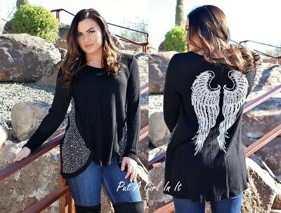 Be Vocal Plus Size Pearl Crystal Black Angel Wings Tunic Top Shirt 1X 2X 3X Usa