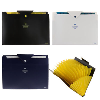 12 Pocket Plastic Expanding File Folder Document Paper Storage Organizer