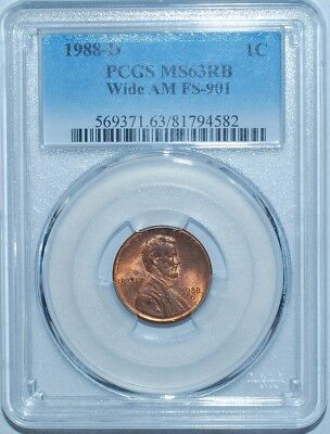 1988 D PCGS MS63RB Red and Brown Wide AM FS-901 Lincoln Cent