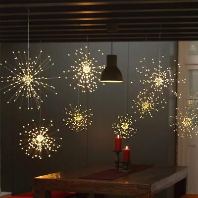 2pcs Hanging Starburst Firework LED Fairy String Light Christmas Party Warm/RGB