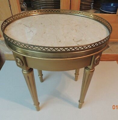 Vintage French Provincial Marble Top Oval Accent Table, Gold Leaf w Heart Trim