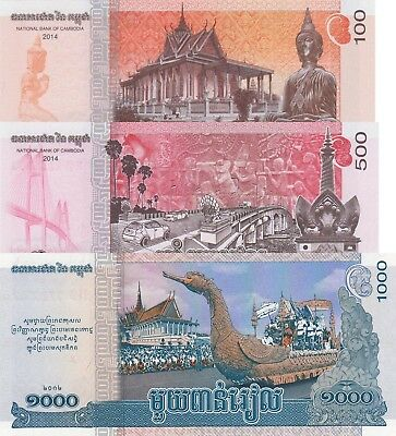 Cambodia 3 Note Set: 100, 500 and 1000 Riels (2013/2014) - pNew, pNew and p63