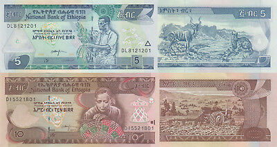 Ethiopia 2 Note Set: 5 & 10 Birr (2009/2017) - p46-New, p47-New UNC