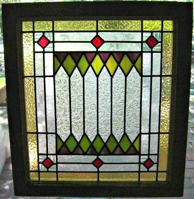 Leaded Stained Glass Window Geometric Patterned Clear Red Mulberry Green 2 Avail