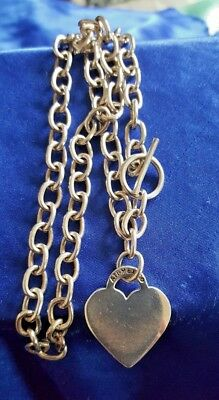 Sterling Silver Rolo Link Toggle Closure Heart Charm Chain Necklace 16 1/2""