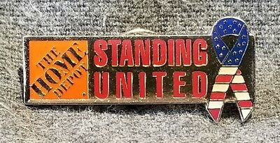 LMH PINBACK Pin UNITED WE STAND Ribbon HOME DEPOT Employee Apron Campaign 1-3/8""