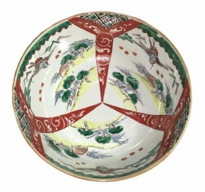 Antique japanese imari hand painted handpainted crane egret green floral bowl