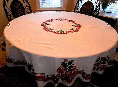 Round White Christmas Tablecloth With border of red and green ribbon & Bows