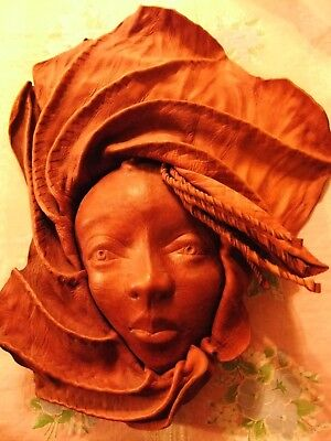 African Themed Mask Of Woman Wall Decor- Genuine Leather