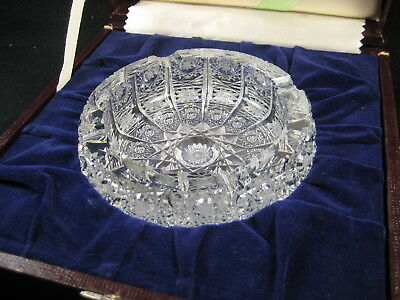VINTAGE (c.1950) BOHEMIA CUT GLASS CRYSTAL ASH TRAY MADE IN OLD CZECHOSLOVAKIA