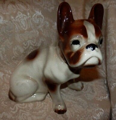 Vintage FRENCH BULLDOG DOG Figurine White & Brown Statue Figure