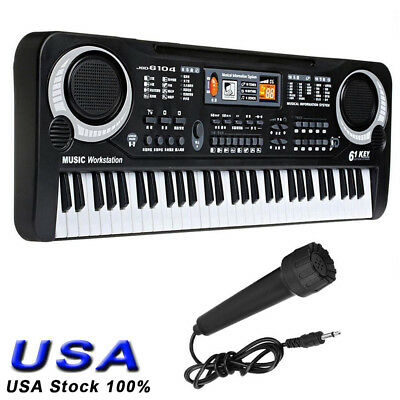 61 Key Electronic Keyboard Electric Music Digital Piano Organ with Adapter & Mic
