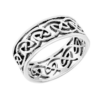 Elegant Band of Celtic Knots Sterling Silver Ring-6