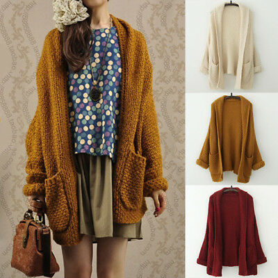 Womens Ladies Baggy Cardigan Coat Tops Chunky Knitted Oversized Sweater Jumper