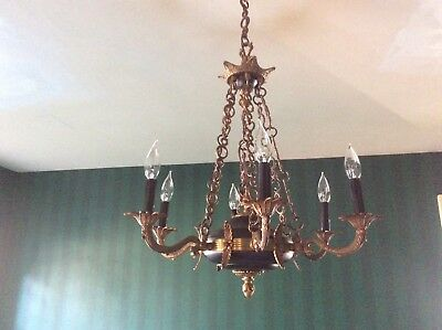 Vintage 1920's French Empire chandelier black tole w/ bronze 6 arms, lights